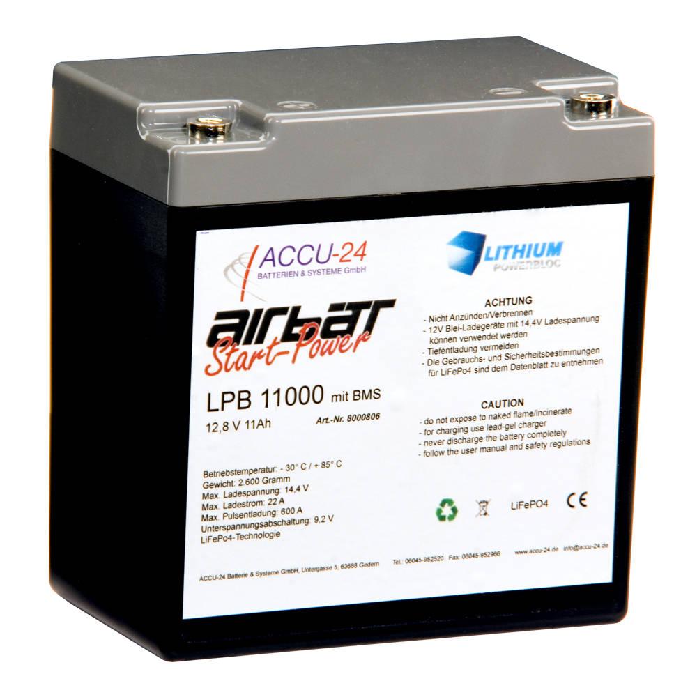 Airbatt LPB11000 LiFePO4 Starterbatterie, geringes Gewicht, lange Lebensdauer, hohe Startleistung